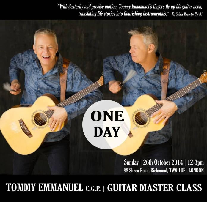 1Day, Countdown to Tommy Emmanuel Master Class in London, hosted by Ritz Music. Designed by Cristina Schek