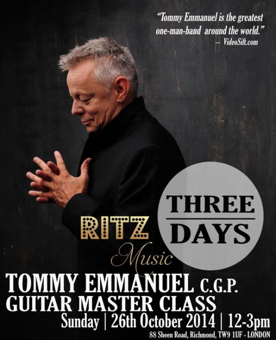 Countdown to Tommy Emmanuel Master Class in London, hosted by Ritz Music. Designed by Cristina Schek