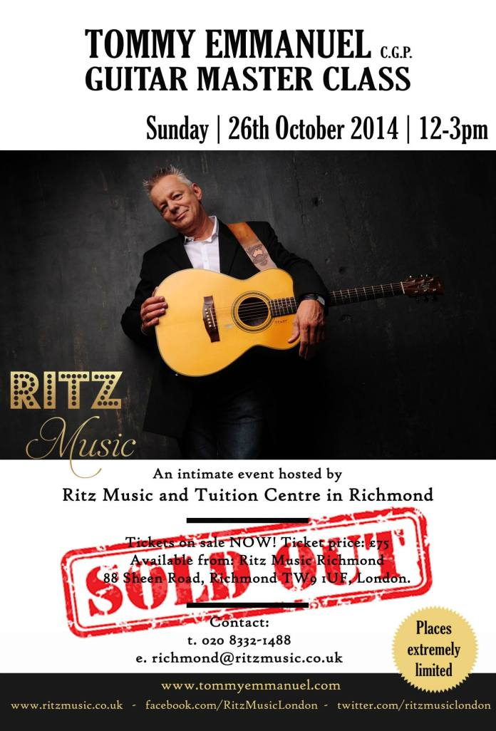 Tommy Emmanuel Master Class at Ritz Music, London 26th October 2014 e-shot designed by #CristinaSchek