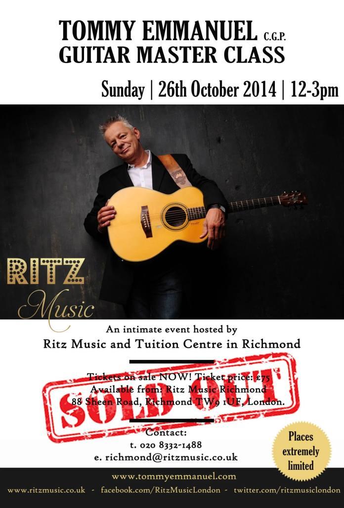 Tommy Emmanuel Master Class at Ritz Music, London 26th October 2014 e-shot designed by #CristinaSchek