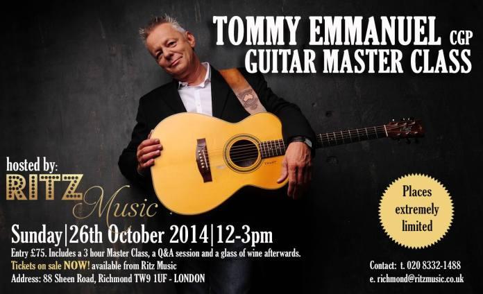 Tommy Emmanuel Masterclass, Ritz Music, poster design Cristina Schek