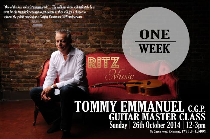 week, Countdown to Tommy Emmanuel Master Class in London, hosted by Ritz Music. Designed by Cristina Schek
